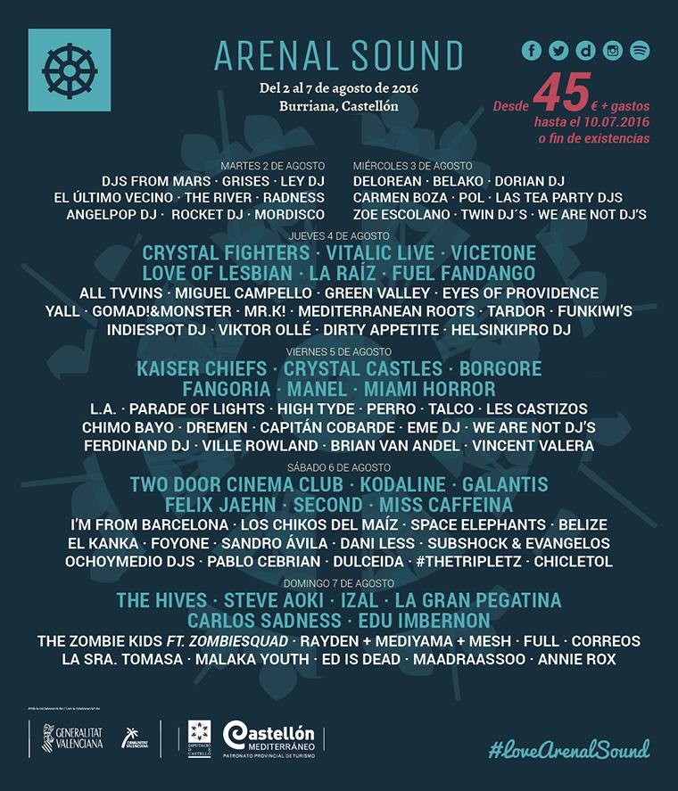 Cartel hasta el momento del Arenal Sound 2016