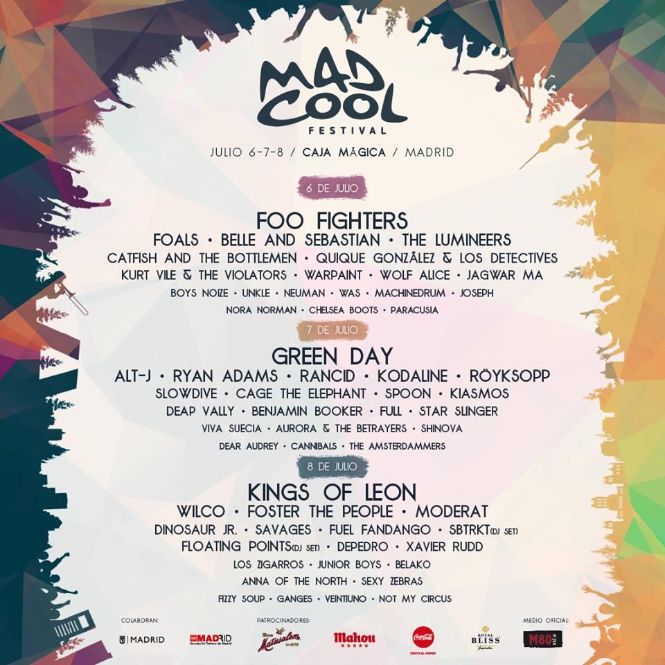 Cartel hasta el momento del Mad Cool 2017