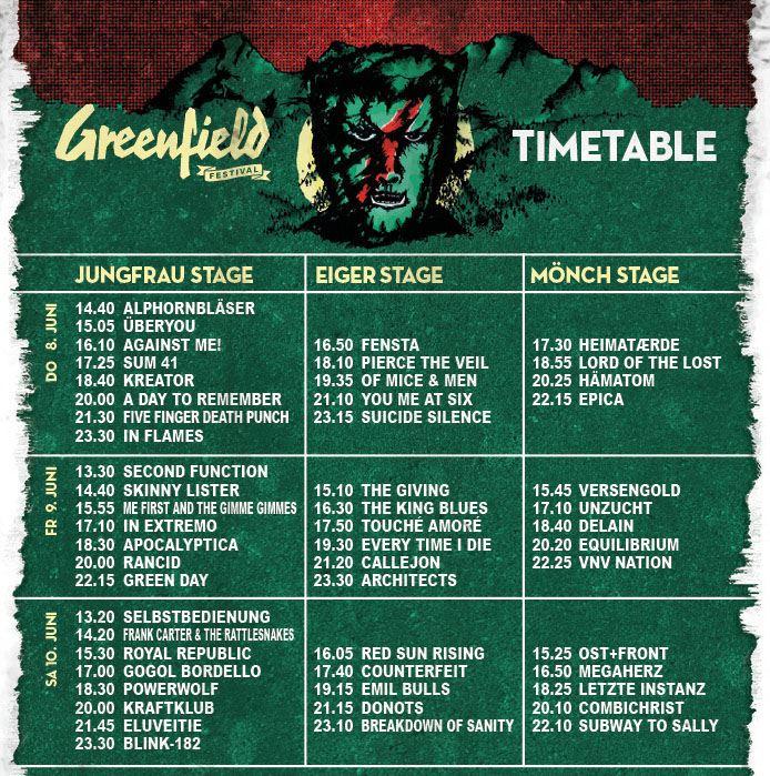 Cartel completo y horarios del Greenfield 2017