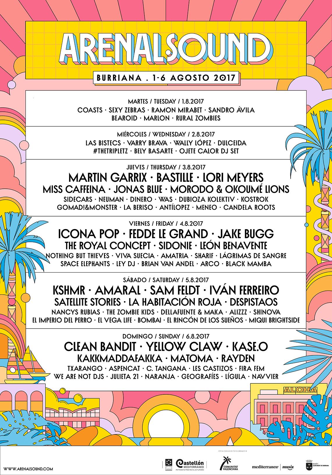 Cartel completo del Arenal Sound 2017