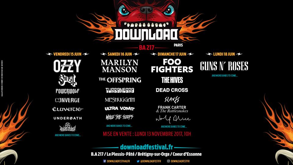 Cartel hasta el momento del Download Festival París 2018