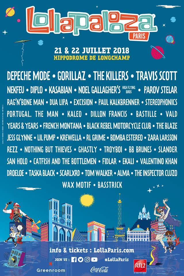 Cartel completo del Lollapalooza París 2018