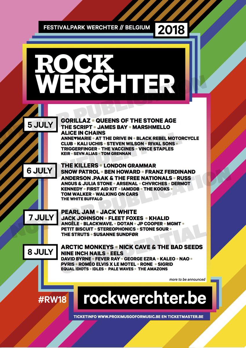 Cartel hasta el momento del Rock Werchter 2018