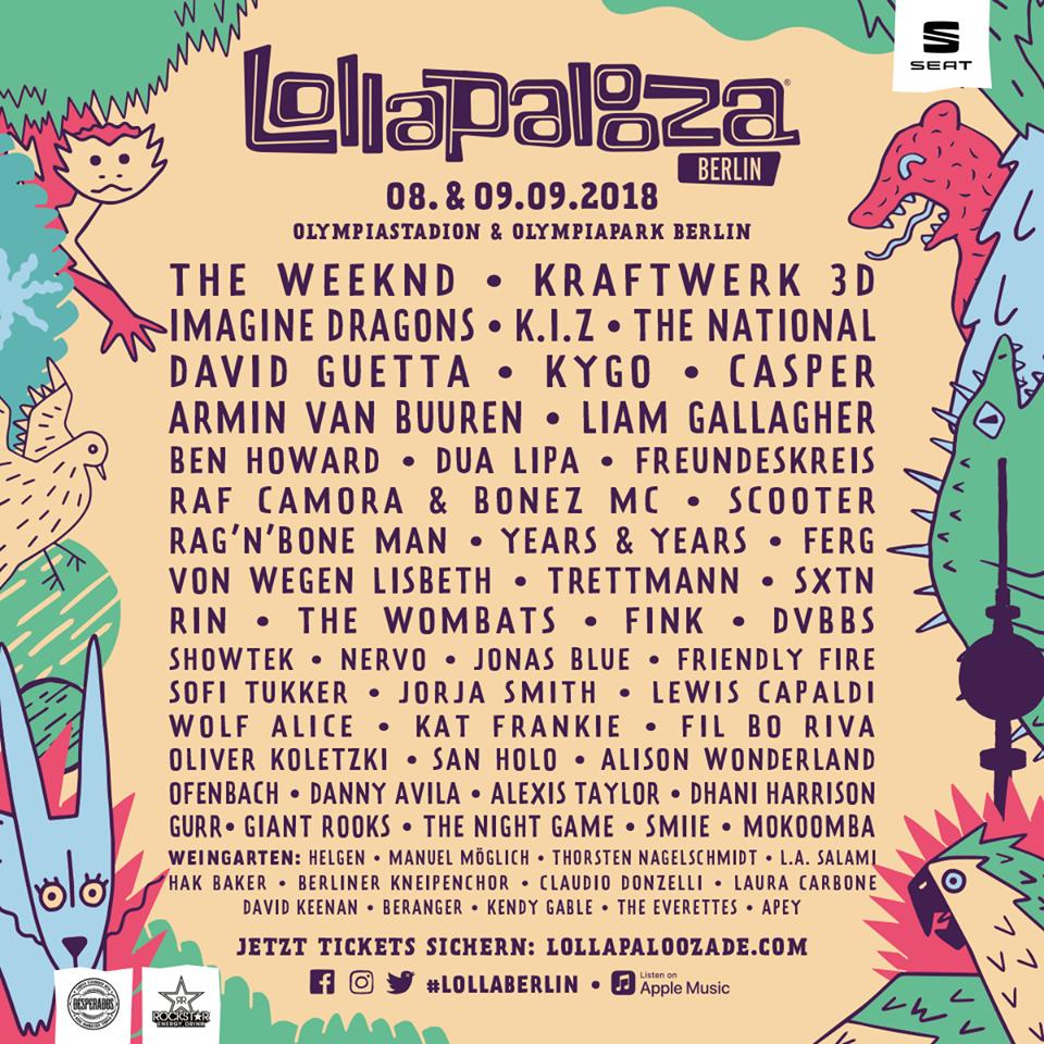 Cartel completo del Lollapalooza Berlín 2018