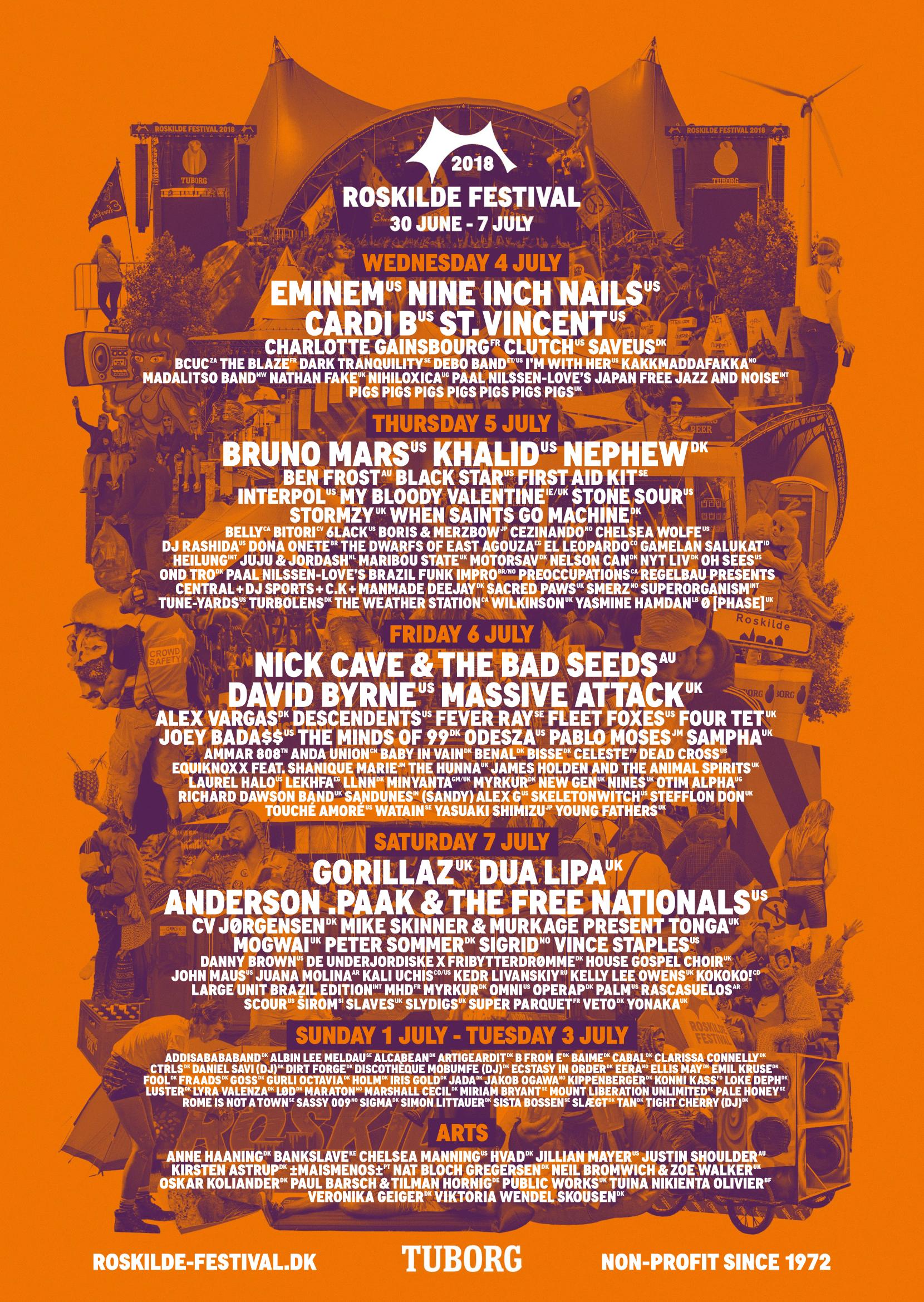 Cartel completo del Roskilde 2018