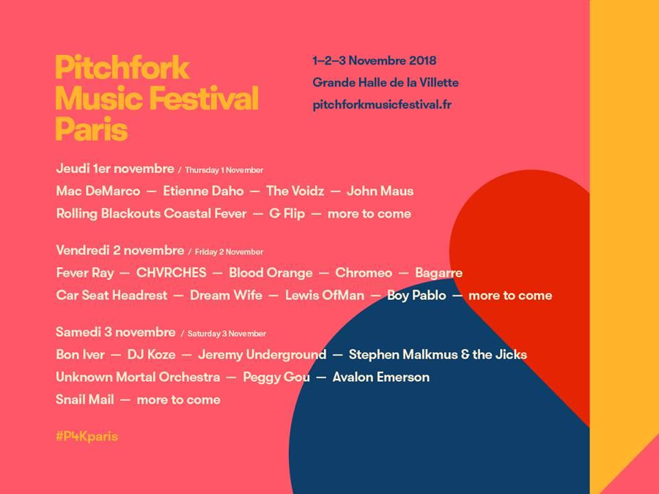 Nuevas confirmaciones del Pitchfork Music Festival París 2018