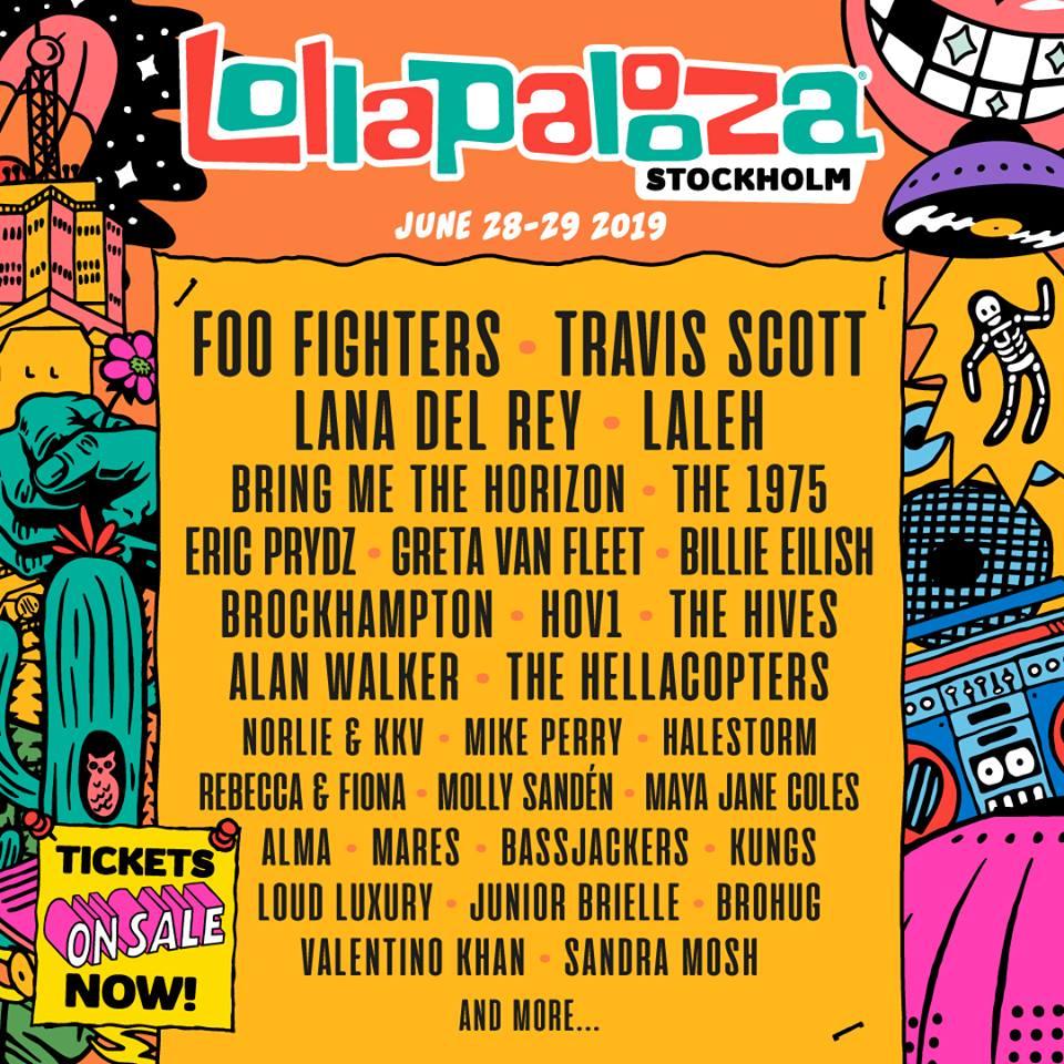 Cartel hasta el momento del Lollapalooza Estocolmo 2019