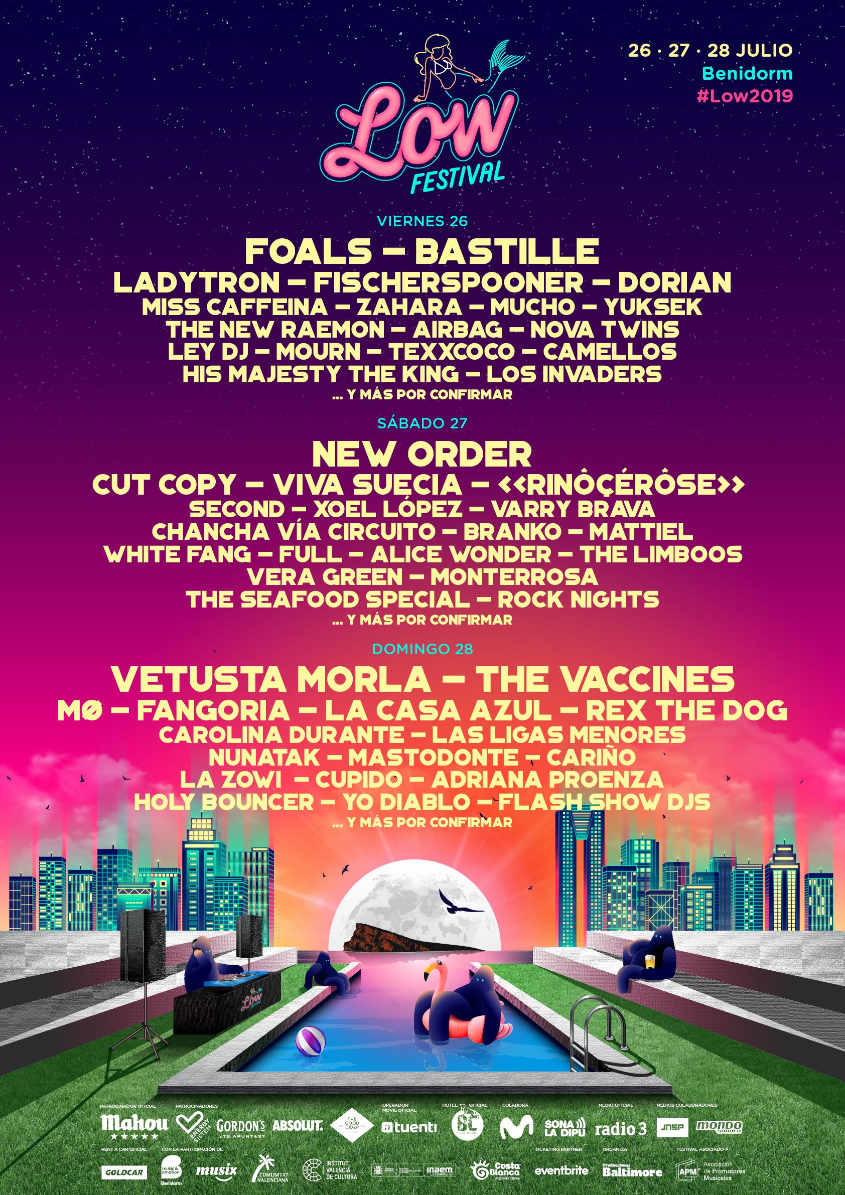 Cartel hasta el momento del Low Festival 2019