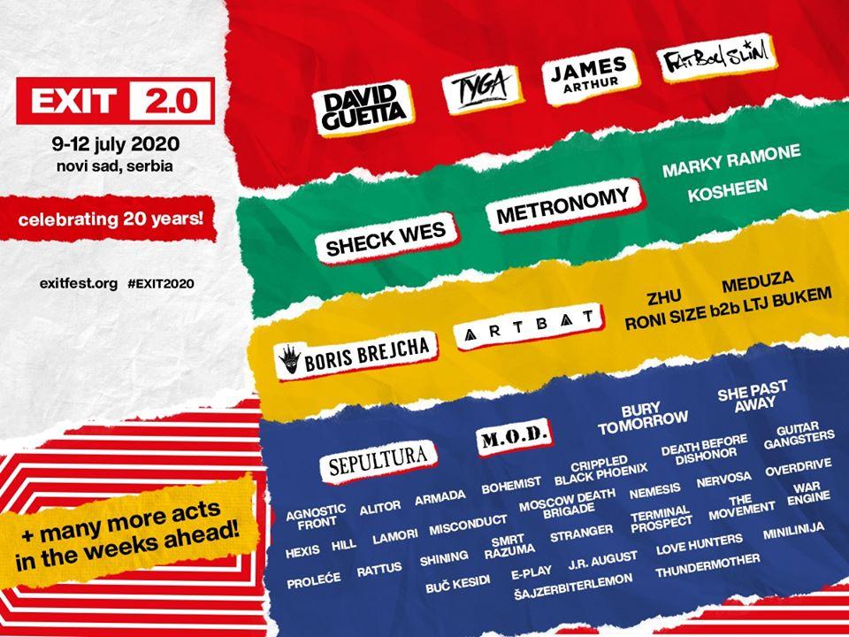 Cartel hasta el momento del Exit Festival 2020