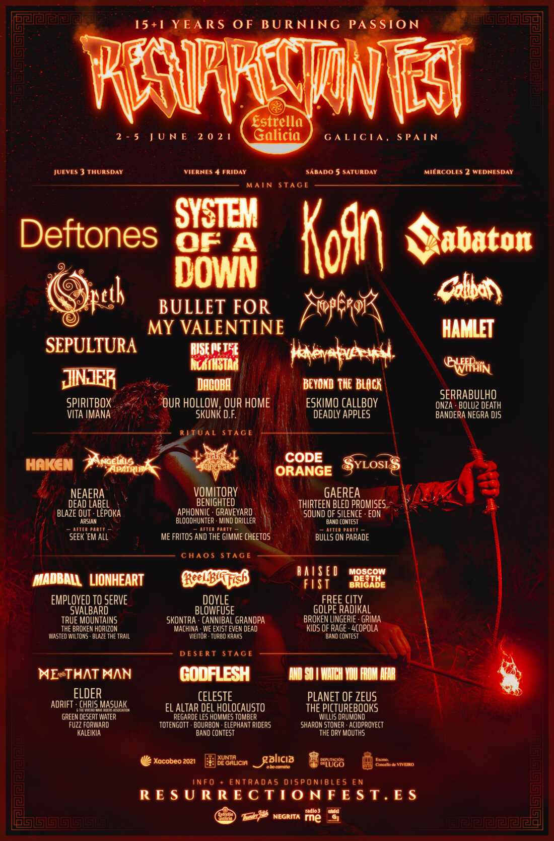 Cartel por días del Resurrection Fest 2021